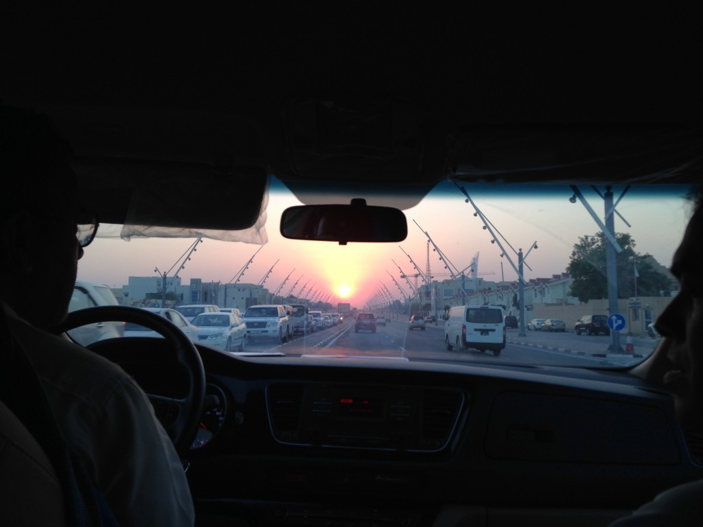 Driving back from the American School of Doha - a beautiful Arabian sunset lighting up the horizon