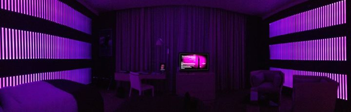 Walking into our hotel room at the Torch - purple mood lighting was the default, but the room-controlling ipad had a dozen or so more.
